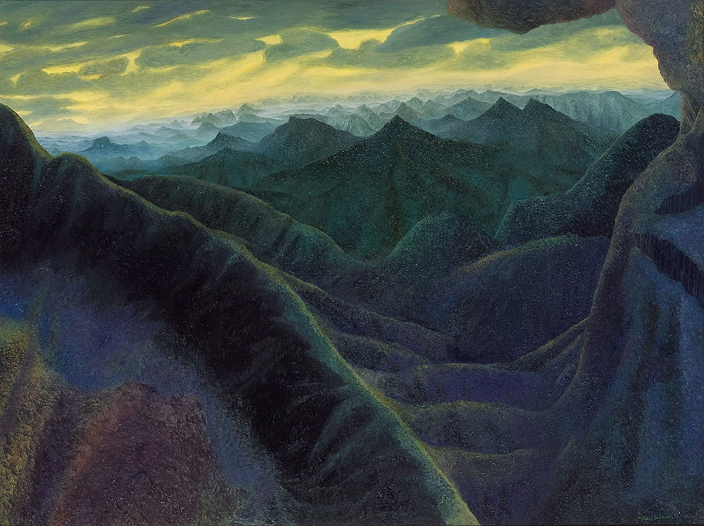 William ROBINSON 'Green mountains' ('Mountain' series, 2nd of five) 1992. Oil on linen. Private Collection, Brisbane.