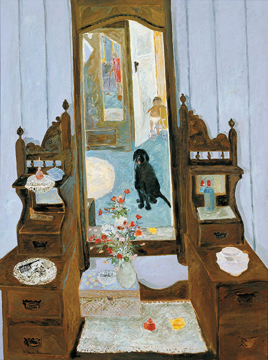 William ROBINSON 'Interior with black dog' 1970. Oil on canvas. QUT Art Collection. Purchased 2013 through the William Robinson Collection fund.