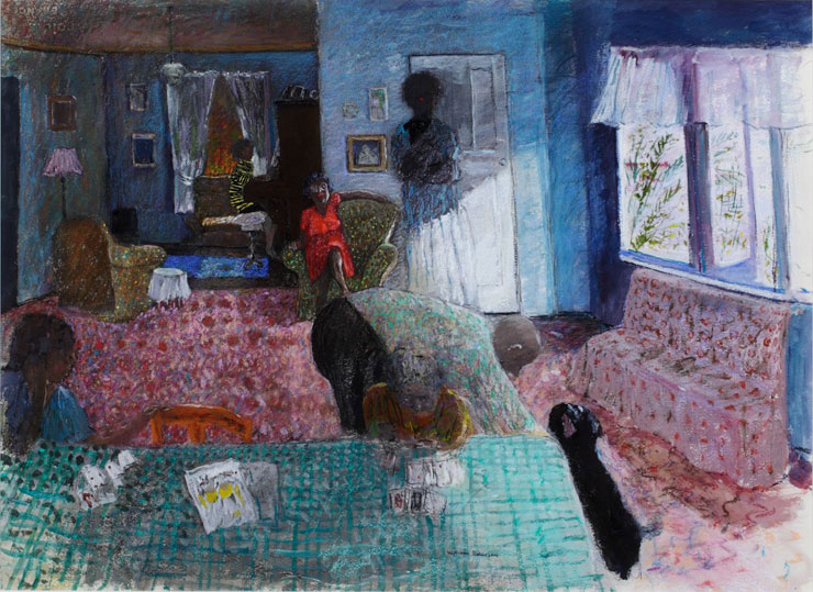 William Robinson 'Interior, Birkdale' 1976. Coloured pastels and gouache on paper. QUT Art Collection, Brisbane. Donated through the Australian Government's Cultural Gifts Program by William Robinson, 2009.