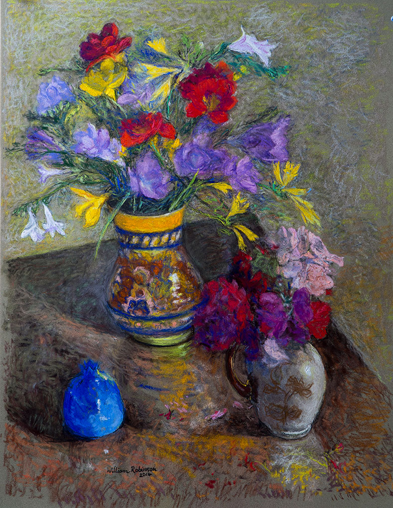 William ROBINSON 'Freesias and geraniums' 2014. Pastel on paper. Private collection, Brisbane.