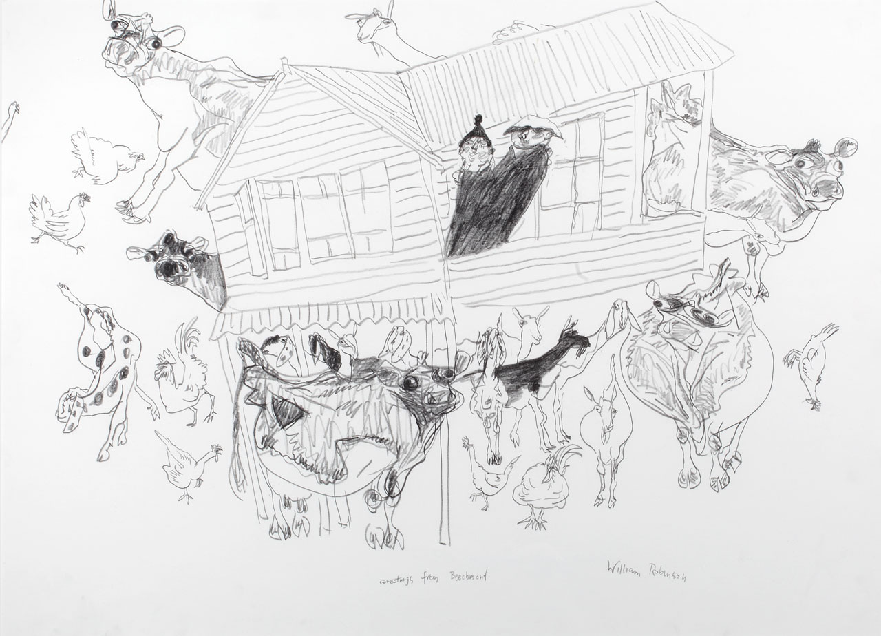 William Robinson 'Greetings from Beechmont' 1984. Pencil on paper. Private collection, Brisbane.