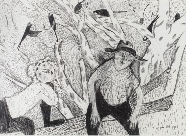 William Robinson 'William and Shirley with crimson rosellas' 1984. Pencil on paper. QUT Art Collection, Brisbane. Gift of the artist under the Cultural Gifts Program, 2009.