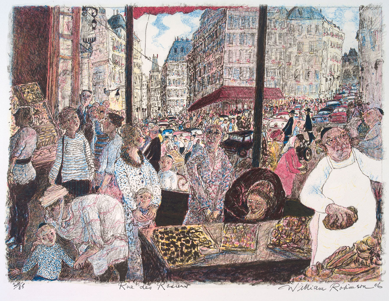 William ROBINSON 'Rue des Rosiers' 2006, lithograph. QUT Art Collection, Gift of the artist under the Cultural Gifts Program, 2008.