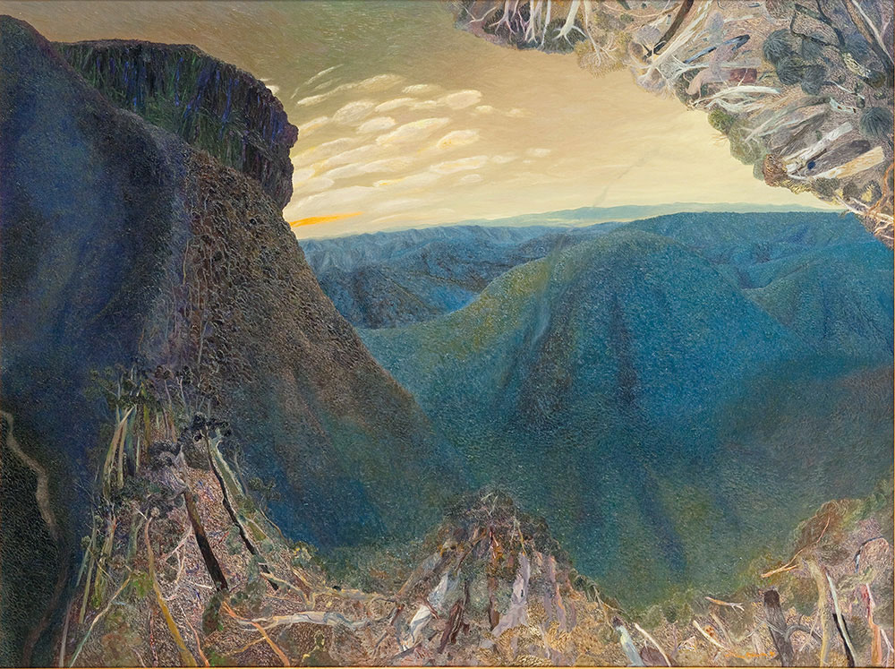 William ROBINSON 'Sunset, flying fox and beyond' ('Mountain' series, 3rd of five) 1992. Oil on linen. Private Collection, Brisbane.