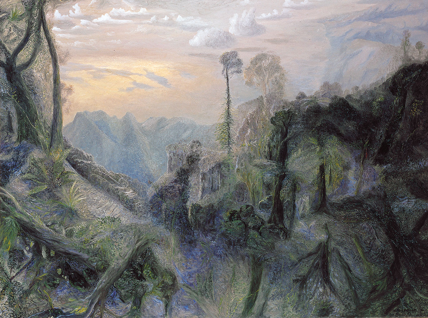 William ROBINSON 'The sea with morning sun from Springbrook' 1996, oil on linen. QUT Art Collection, Purchased 2013 through the William Robinson Art Collection Fund and partial donation by Michael Gleeson-White.