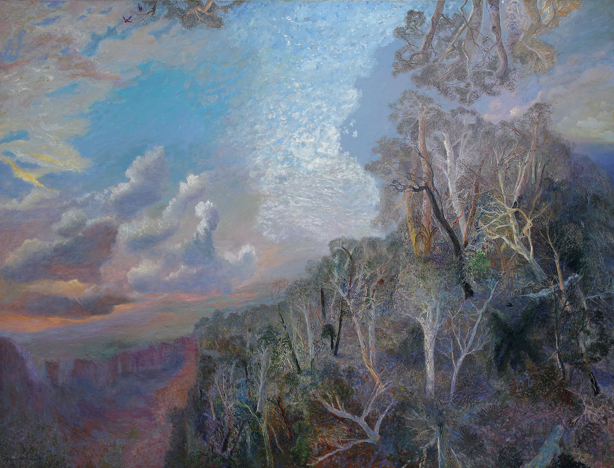 William Robinson 'Evening shadows, Numinbah' 1999. Oil on linen. QUT Art Collection, Brisbane. Gift of the artist under the Cultural Gifts Program, 2003.