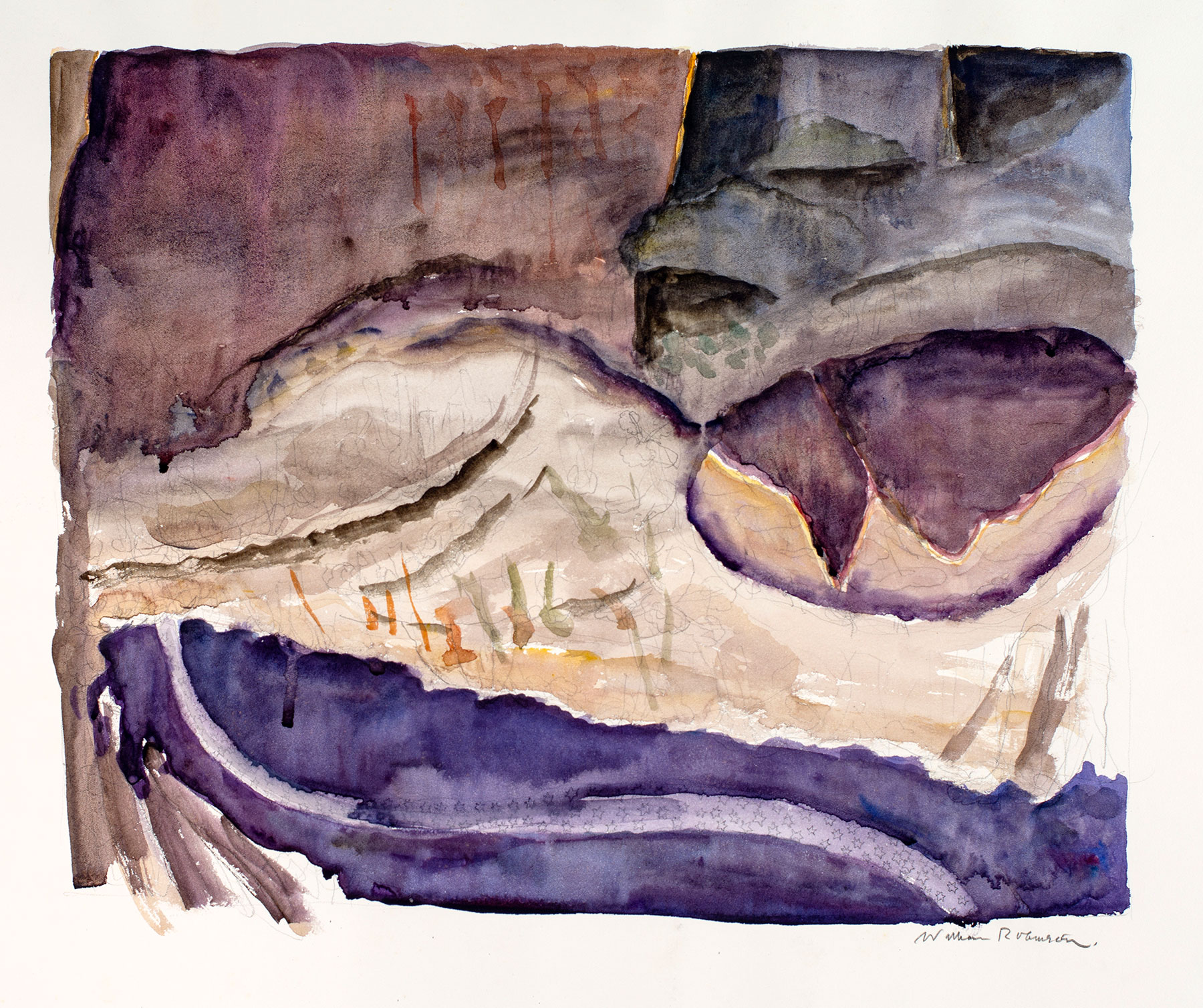 William ROBINSON, 'Landscape 41' 1989, watercolour on paper. QUT Art Collection, Donated through the Australian Government's Cultural Gifts Program by William Robinson, 2018.