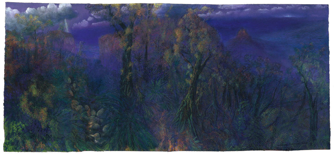 William Robinson 'Evening light, Springbrook' 2005. Coloured pastels on paper. QUT Art Collection, Brisbane. Purchased 2009 through the William Robinson Art Collection Fund.