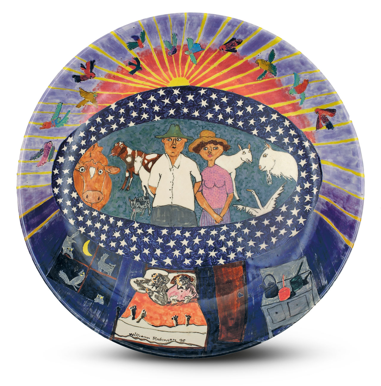 William Robinson 'William and Shirley, day and night' 1995. Glazed stoneware bowl. Wheel thrown by Errol Barnes. Private collection, Brisbane.