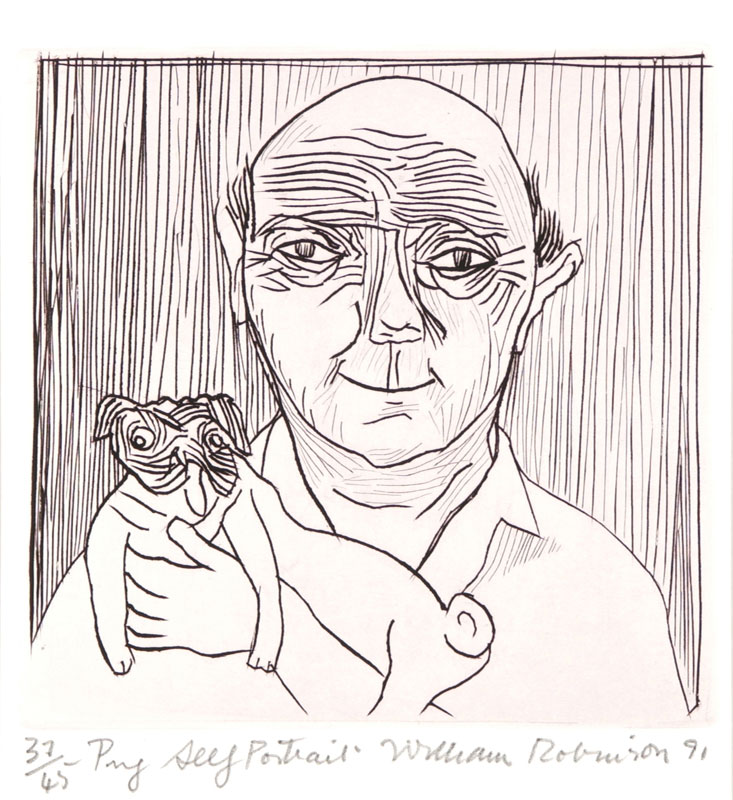William Robinson 'Pug self portrait' 1991. Etching. QUT Art Collection, Brisbane. Gift of the artist under the Cultural Gifts Program, 2002.