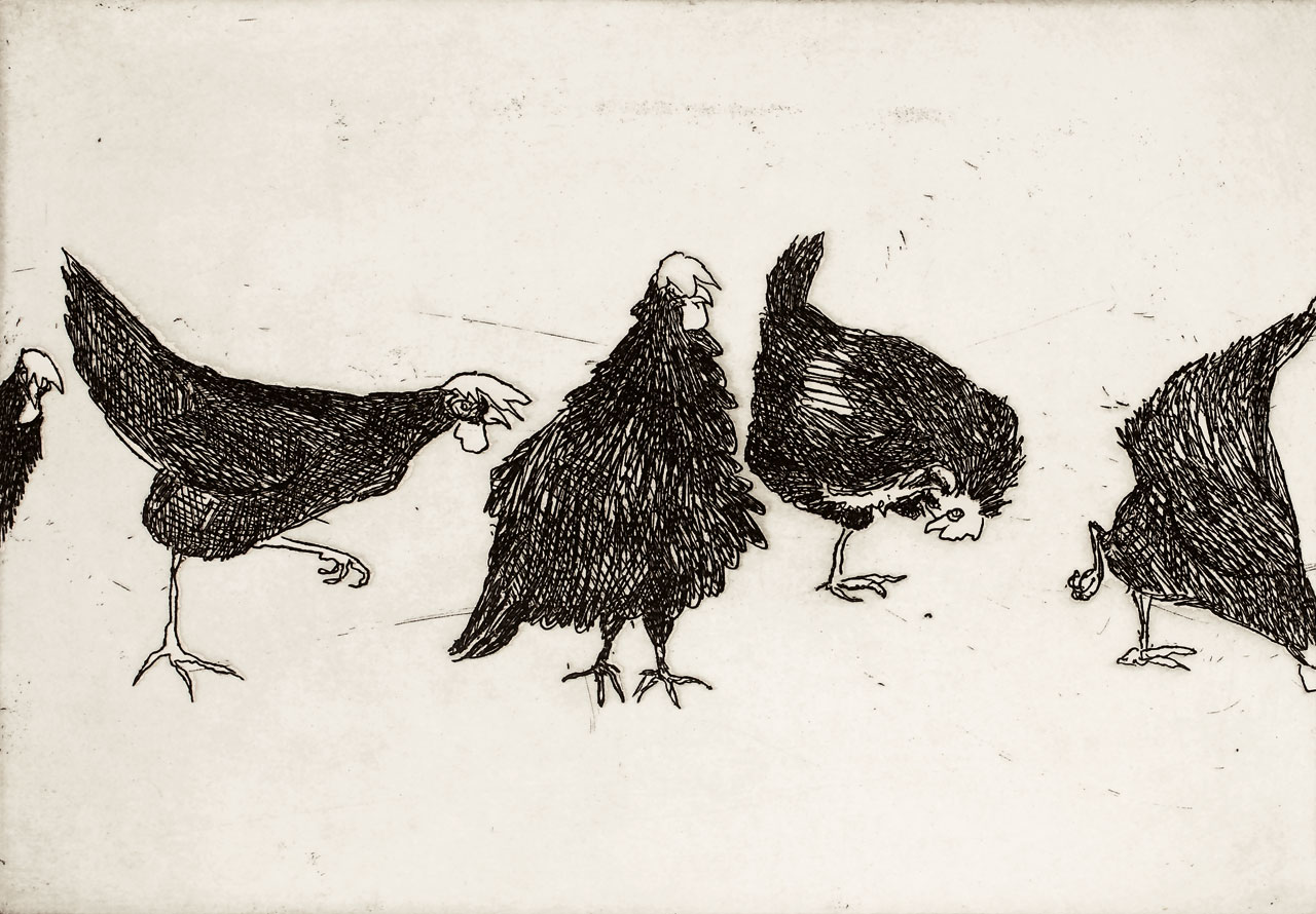 William Robinson 'Chooks' 1979. Etching. QUT Art Collection, Brisbane. Gift of the artist, 1979.