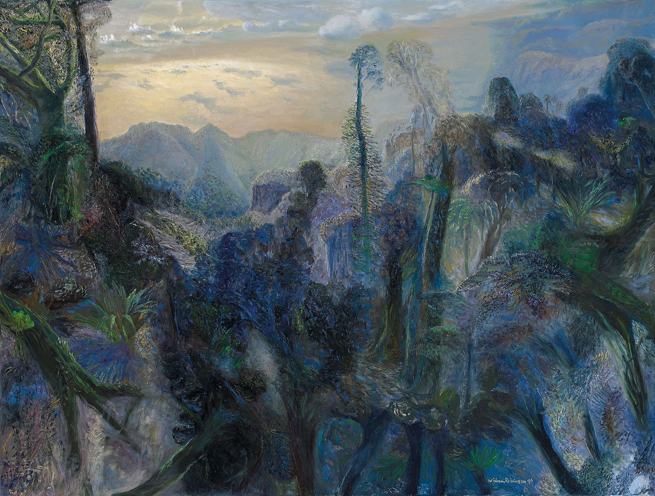 William Robinson 'The sea with morning sun from Springbrook' (study) 1996. Oil on linen. Private collection, Brisbane.