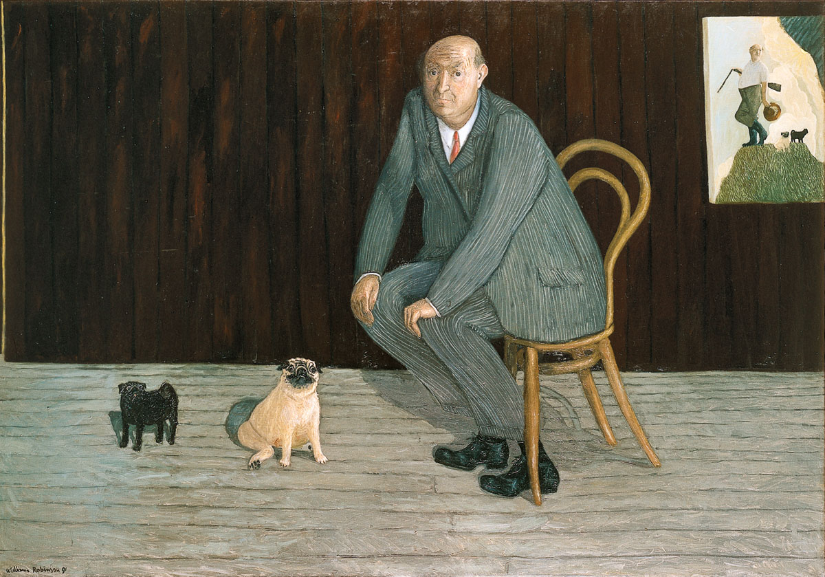 William Robinson 'Self portrait for town and country' 1990. Oil on linen. QUT Art Collection, Brisbane. Donated through the Australian Government's Cultural Gifts Program by William Robinson, 2011.