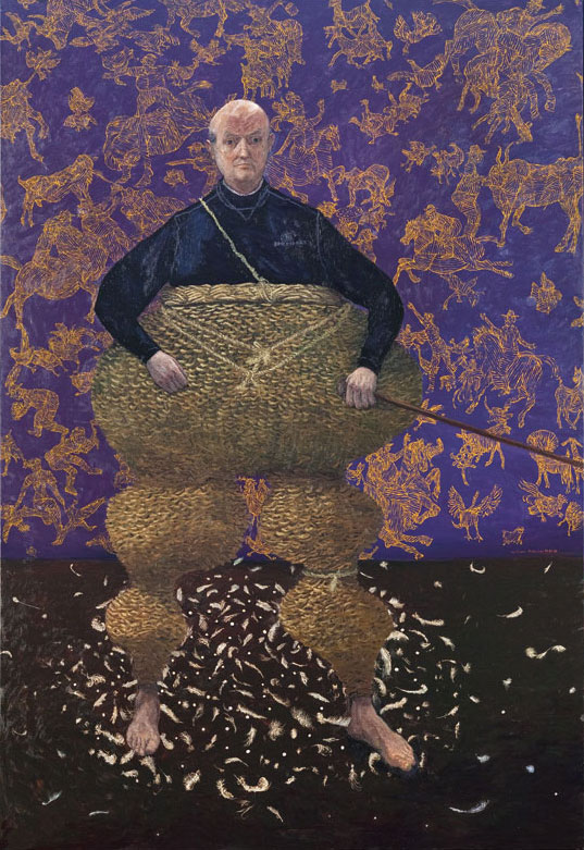 William Robinson 'Self portrait with basket' 2003. Oil on linen. Private collection, Brisbane.